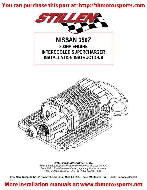 stillen 350z stage 3 supercharger installation instructionspdf stillen 350z stage 3 supercharger installation instructions pdf