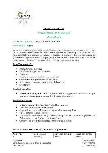 FICHE TECHNIQUE Huile Essentielle PIN ... - COZY Belgique