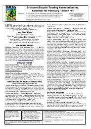 Brisbane Bicycle Touring Association Inc. Calendar for February ...