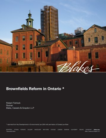 Brownfields Reform in Ontario *