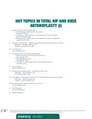 HOT TOPICS IN TOTAL HIP AND KNEE ARTHROPLASTY (I)