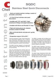 SQDC Stainless Steel Quick Disconnects - Chell Instruments Limited