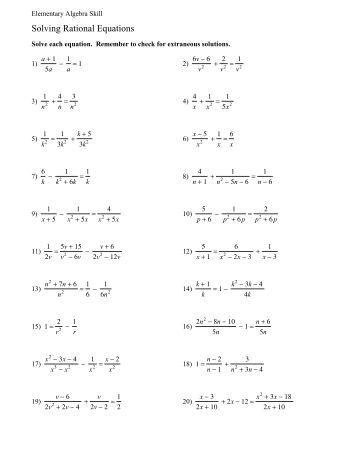 Rational Equations Worksheet - Delibertad