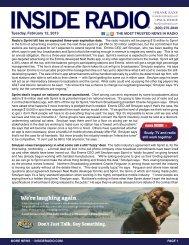 news INSIDE >> Tuesday, February 12, 2013