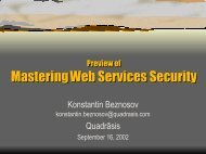 Enterprise Security With XML and Web Services - beznosov.net