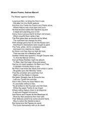 Mower Poems, Andrew Marvell The Mower against Gardens ...