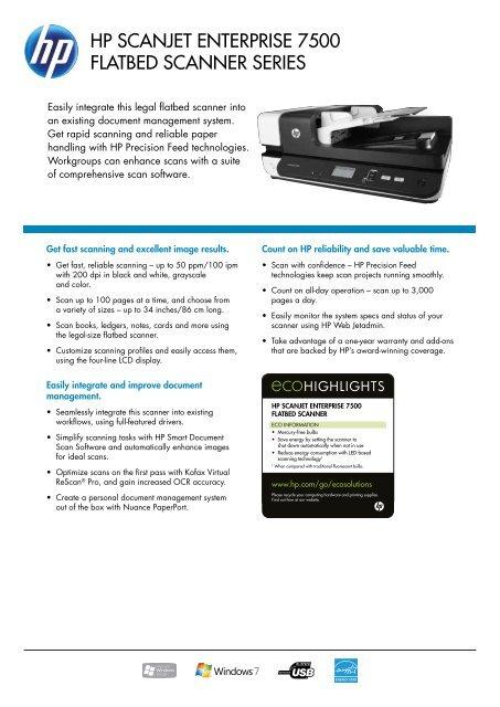 HP Scanjet enterPriSe 7500 Flatbed Scanner SerieS - Metro-oa com