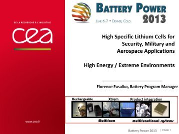 High Specific Lithium Cells for Security, Military and Aerospace ...