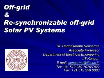 Off-grid & Re-synchronizable off-grid Solar PV Systems