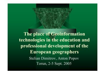 The place of Geoinformation technologies in the education and ...
