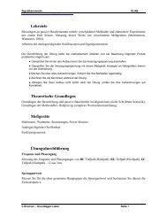 Lehrziele Theoretische Grundlagen Meßgeräte Übungsdurchführung