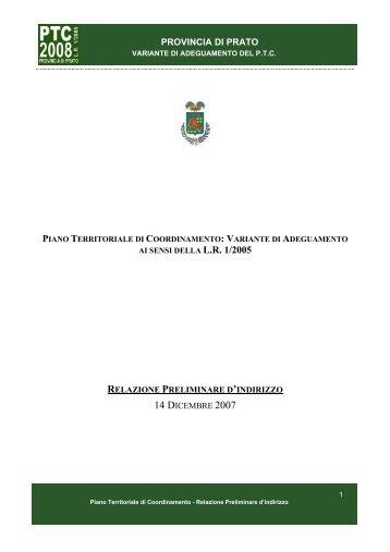 Relazione Preliminare di Indirizzo - Provincia di Prato