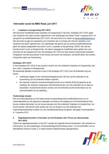 Informatie vanuit de MBO Raad, juni 2011 regionale Het document ...
