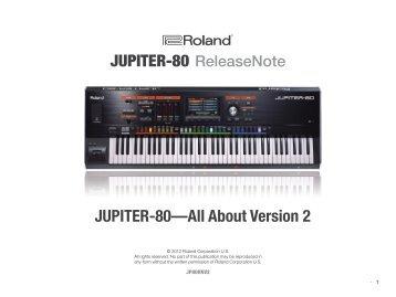 JUPITER-80 Version 2 ReleaseNote - Roland