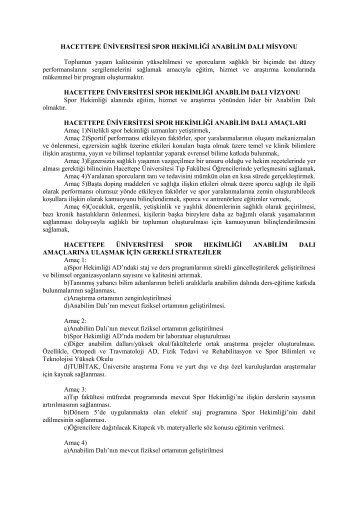 Spor Hekimliği Ana Bilim Dalı - Hacettepe Üniversitesi Tıp Fakültesi