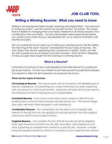 guide to writing a winning resume aarp worksearch