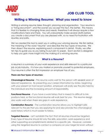 Sample Combination Resume AARP WorkSearch