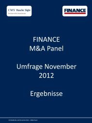 FINANCE M&A Panel Umfrage November 2012 ... - Finance Magazin