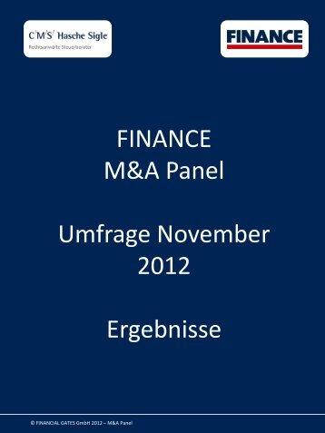 FINANCE M&A Panel Umfrage November 2012 ... - Finance Magazin