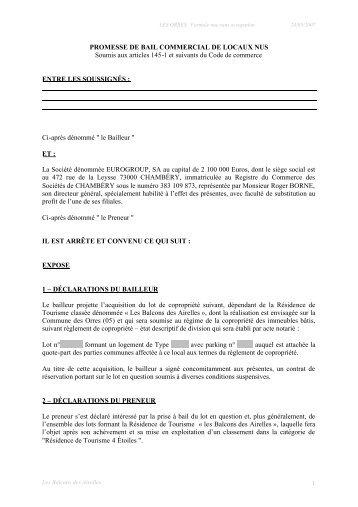 1 PROMESSE DE BAIL COMMERCIAL DE LOCAUX NUS ... - CN2i