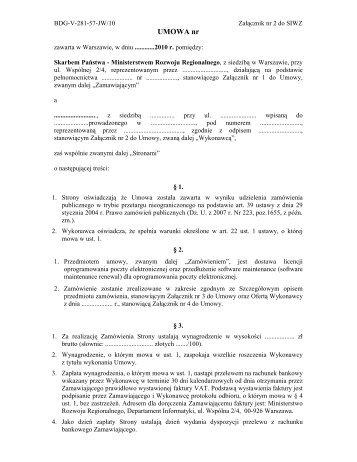 Załącznik Nr 2 - Ministerstwo Rozwoju Regionalnego