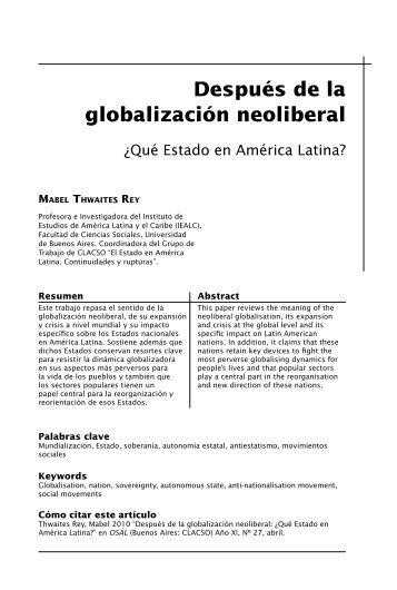 Después de la globalización neoliberal: ¿qué Estado en ... - Clacso