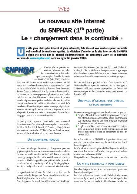 d674c561a23 WEB Le nouveau site du SNPHAR