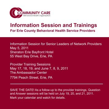 Information Session and Trainings - Community Care Behavioral ...