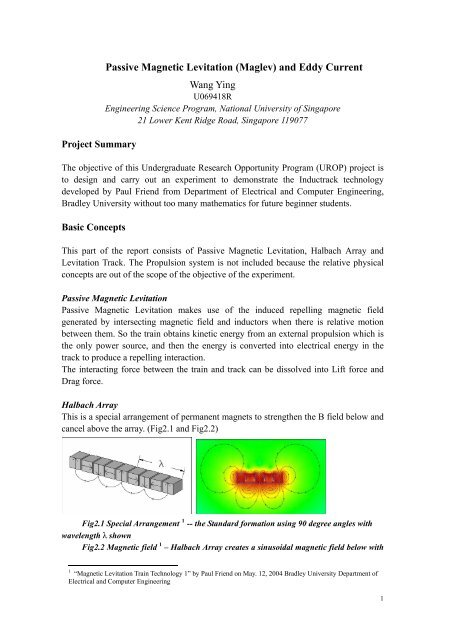 Passive Magnetic Levitation (Maglev) and Eddy Current