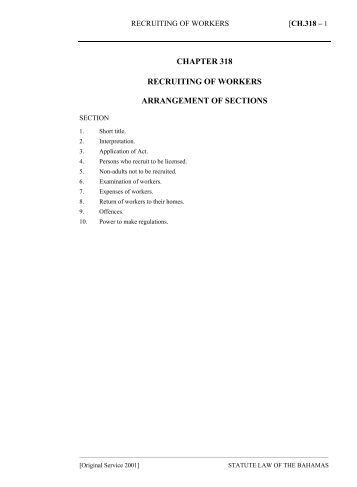 Recruiting of Workers Act - The Bahamas Laws On-Line