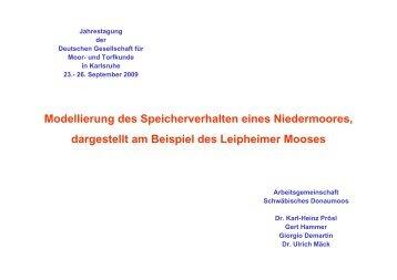 Modellierung des Speicherverhalten eines Niedermoores ...