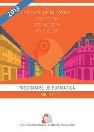 catalogue de formation 2013 de l'ADIL 75