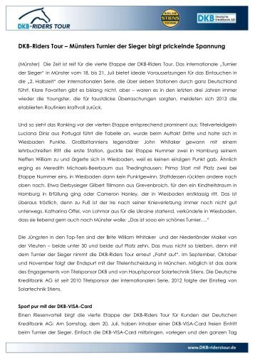 DKB-Riders Tour – Münsters Turnier der Sieger birgt prickelnde ...