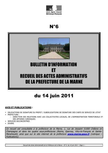 Recueil 6-2011 du 14 juin - 10,96 Mb - Préfecture de la Marne