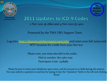 2011 ICD-9 Updates - Tricare