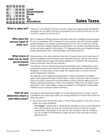 Sales Taxes - Illinois Department of Revenue
