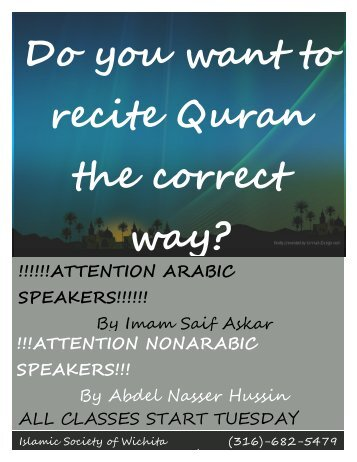 Do you want to recite Quran the correct way? - Islamic Society of ...