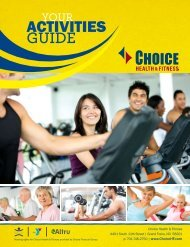 ACTIVITIES GUIDE - Choice Health & Fitness