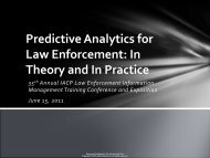 Predictive Analytics for Law Enforcement: In Theory and In Practice