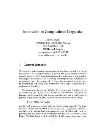 Introduction to Computational Linguistics