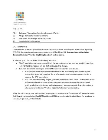 CPCI Provider Information and QA - updated 5-17-2012