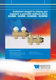 Collettori singoli in ottone per impianti a pannelli ... - Watts Industries