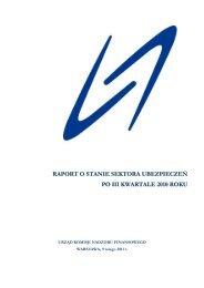 raport o stanie sektora ubezpieczeń po iii kwartale 2010 roku