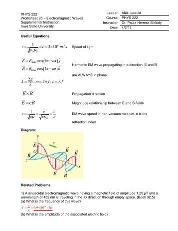 U10 Worksheet 1one Dimensional Waves