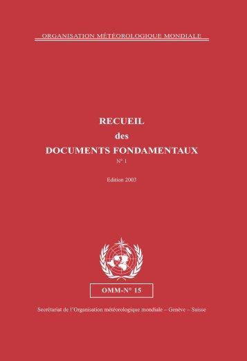 RECUEIL des DOCUMENTS FONDAMENTAUX - E-Library