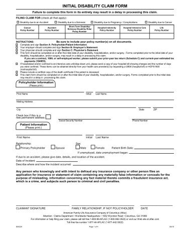 Specified Disease Claim Form NY-S- 00220