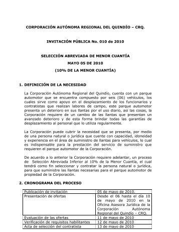 Invitacion Publica No. 010 de 2010 - especificaciones - Llantas