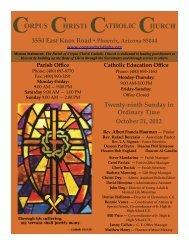 CHRISTI CORPUS CATHOLIC CHURCH Twenty-ninth Sunday in ...