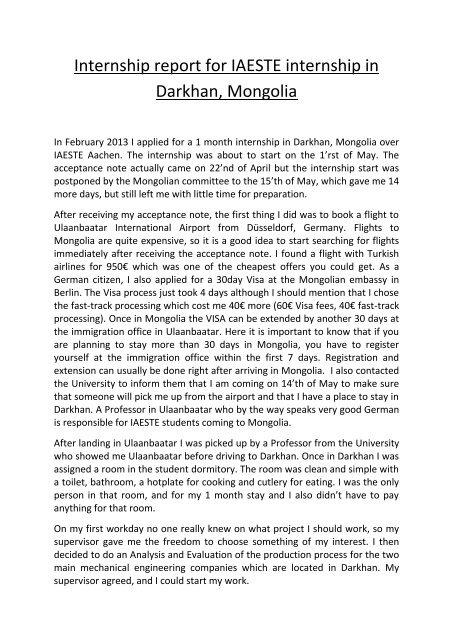 Internship report for IAESTE internship in Darkhan, Mongolia