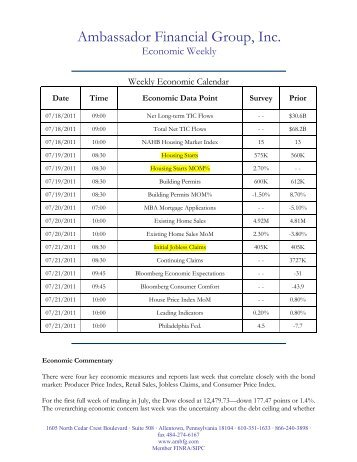 7-18-11 Economic Weekly - Ambassador Financial Group